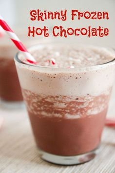 Skinny Frozen Hot Chocolate - A dreamy, icy blend of chocolatey goodness! #vegetarian