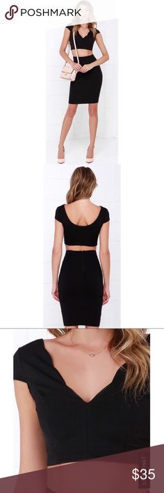 NWOT LuLu's black two piece dress NWOT LuLu's black two piece dress! Perfect for fall and winter. Pair with a black or burgundy leather jacket or fur and you'll look perfect for a special occasion or night out Lulu's Dresses