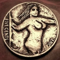 Eric Truitt - Cute Lady 1 Hobo Nickel, Cute Woman, Erotic, Coins, Carving, Lady, Animals, Drawings, Animales