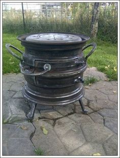 Len Wilcox December 4 · saw a similar stove made out of rims so my dad and I… Metal Projects, Welding Projects, Outdoor Projects, Rim Fire Pit, Fire Pits, Used Horse Shoes, Rocket Stoves, Wood Burner, Outdoor Cooking