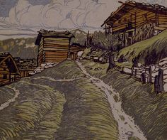 <p>This print shows a view of vernacular architecture, one of the few examples in Wright's collection.</p>