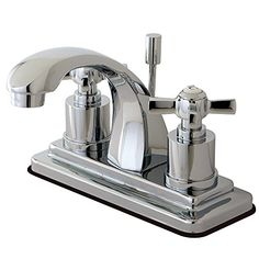 Bathroom Faucets DIY | KINGSTON BRASS KS4641ZX Millennium 4Inch Centerset Lavatory Faucet with Brass PopUp Polished Chrome * Click image for more details. Note:It is Affiliate Link to Amazon.