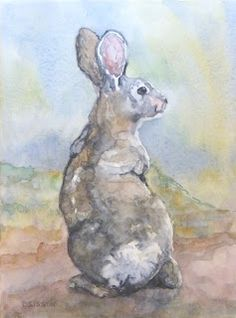 """""""Rabbit Pose"""" Watercolor on watercolor canvas, 12"""" x 9"""". I really like the effects I can get sometimes with watercolors on a canvas that accepts the water pigments. I can puddle the colors for a bolder line and statement."""