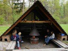 Cabin in the yard Outdoor Rooms, Outdoor Living, Gazebos, Outdoor Shelters, Outdoor Fire, Cabins In The Woods, Outdoor Projects, Backyard Landscaping, Pergola