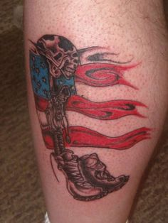 Fallen Soldier Memorial tattoo This is my first tattoo.long contemplated and inked on on impulse. Rose Tattoos, Leg Tattoos, Fallen Soldier Memorial, Remembrance Tattoos, Wrist Tattoos For Guys, Military Tattoos, First Tattoo, Tatting, Memories