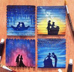 Disney couples 😍 or Best of Disney Art by Fari ( Disney Canvas, Art Disney, Disney Ideas, Toile Disney, Art Mini Toile, Art Sketches, Art Drawings, Popsicle Stick Art, Art Du Croquis