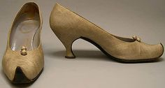 Shoes  House of Dior  (French, founded 1947)  Designer:  Roger Vivier (French, 1913–1998)  Date:  ca. 1958  Culture:  French  Medium:  silk, leather  Dimensions:  Heel to Toe: 9 1/2 in. (24.1 cm)