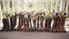 Cowboy boots and flowers! Do this with the Bridesmaids boots before wedding