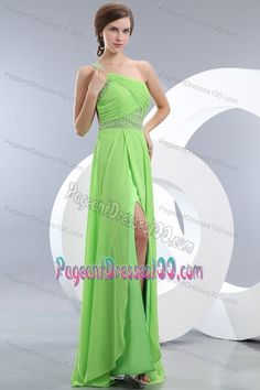Beaded and Ruched One Shoulder Green Pageant Dresses with Slit