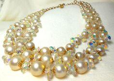 Vendome Triple Strand Necklace Pearl Rivoli Gold by JewlsinBloom, $120.95
