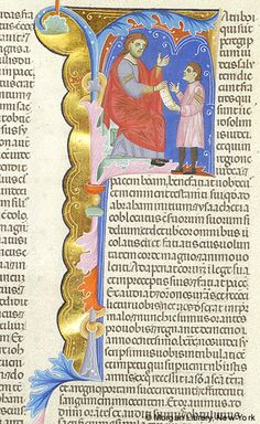 Inital F: Maccabees: Letter from Jews — Man, seated, raising left hand, extends right hand holding scroll also held by left hand of another man standing before him | Bible | Italy, Padua | ca. 1287–1300 | The Morgan Library & Museum
