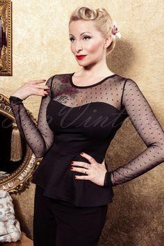 Steady Clothing - Miss Fancy Peplum Top Black