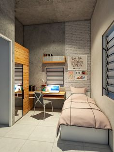 ___Andyrahman Architect Projects___ For kids bedroom Tiny Bedroom Design, Small Living Room Design, Home Room Design, Girl Bedroom Designs, Interior Design Living Room, College Bedroom Decor, Room Ideas Bedroom, Small Room Bedroom, Bedroom Layouts