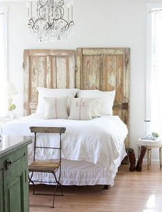 two old doors = gorgeous DIY bedhead  by dreamywhites  tx