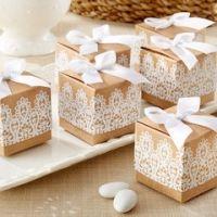 Rustic & Lace Kraft Party Favor Boxes (Set of 24)