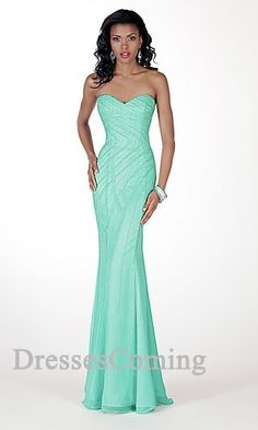 Long Chiffon blue Prom Dress  For shape but maybe in a hot pink or dark green