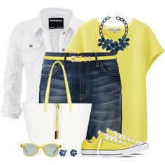 Converse Yellow Sneakers by brendariley-1 on Polyvore featuring Uniqlo, maurices, Current/Elliott, Converse, Oasis, Billie & Blossom, Sian Bostwick Jewellery, Ray-Ban and M&Co