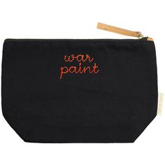 Bow and Drape Women's War Paint Medium Pouch - Black ($35) ❤ liked on Polyvore featuring bags, handbags, clutches, black, leather purses, zip pouch, genuine leather handbags, zipper purse and zipper pouch
