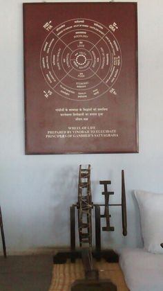 7. Positioned in Gandhi's room in Sabarmati Ashram, is the Gandhi's Wheel of Life prepared by Vinobaji to educate principles of Gandhi's Satyagraha. This simple piece of graphic design speaks about Gandhi's motif towards way of living. Compiling every element under Truth and Non-Violence, it reflects Satyagraha scenario of India.