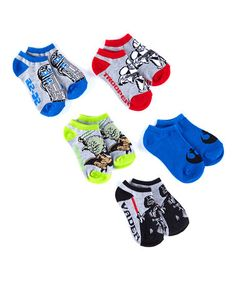 Another great find on #zulily! Blue & Gray Star Wars Socks - Set of Five #zulilyfinds