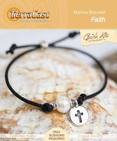 Our Faith Mantra Bracelet (Faith through Love & Truth) pairs a Cross Charm with a freshwater pearl. The cross is the principal symbol of Christianity, representing both Christ and faith, and pearls are believed to promote purity, faith, charity, integrity, truth, and loyalty. Look for our Quick Kits at your favorite bead store or jewelry making supplier! #giftideas