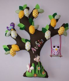 LEMON TREE, made of fabric Dinosaur Stuffed Animal, Lemon, Wall Decor, Decoration, Toys, Fabric, Animals, Wall Hanging Decor, Decor