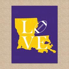 LSU Fighting Tigers Football Print  Bayou by LOVEshackPaperie, $20.00