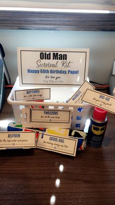 Old Man Survival Kit WD40 Tweezers Drool Bib Marbles Aspirin Batteries