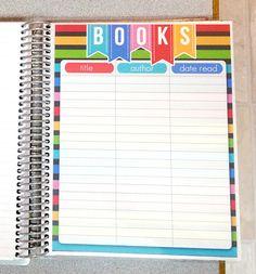 Book List Insert for Erin Condren Life Planner on Etsy, $6.00