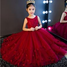 High Quality Wine Girls Piano Performance Dress Newest Design Girl Clothes Party Prom Dress Sleeveless Kids Dresses For Girl Gowns For Girls, Frocks For Girls, Little Girl Dresses, Girls Dresses, Prom Party Dresses, Birthday Dresses, Formal Dresses, Wedding Dresses, Pretty Dresses For Kids