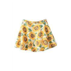 Sunflower Print Pleated Zippered Denim Skirt | pariscoming