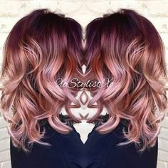 Blush balayage ♡ by IG user @xostylistxo