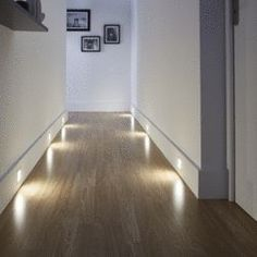 Illuminate your interior with these recessed spotlights extra flat. Their square shape and white finish merge into the decor to see only the light. / Castorama rnrnSource by noura_au Home Interior Design, Interior And Exterior, Led Backlight, Flur Design, Recessed Spotlights, Home Lighting Design, Led Stripes, Hallway Designs, Hallway Decorating