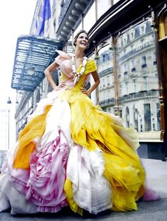 yellow and pink wow dress