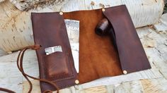 THE GARBO ~ leather pipe cigar case pouch roll holder Leather Tobacco Pouch, Leather Pouch, Tan Leather, Wooden Smoking Pipes, Cigar Cases, Pipes And Cigars, Leather Projects, Leather Crafts, Silver Cuff