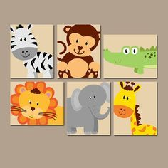 ★JUNGLE Animal Wall Art, Canvas or Prints, Boy Girl Nursery Artwork, Safari Zoo Animals, Gender Neutral, Zebra Lion PLAYROOM Decor, Set of 6 ★Includes