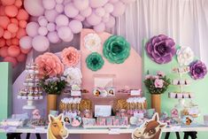 Horse-inspired Dessert Table from a Spirit Pastel Horse Birthday Party on Kara's Party Ideas | KarasPartyIdeas.com