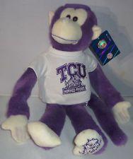 "TCU Horned Frogs Ralley Monkey Hugger Plush Mascot Stuffed Soft Toy Logo 16"" New eBay"