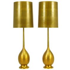 Pair Tall Ribbed Brass Gourd Form Table Lamps | Assemblage via 1st Dibs