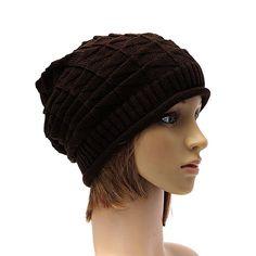 Men Women Winter Plicate Skullies Beanies Knit Crochet Ski Hat Loose Slouch Lattice Cap - Gchoic.com
