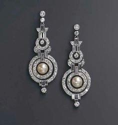 Art Deco diamonds and pearls earrings...