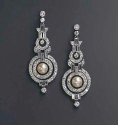 Art Deco diamonds and pearls earrings...