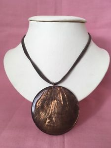 Irridescent Brown Coated Shell Round Pendant On A Inch Double Cord Necklace Jewelry Necklaces, Jewellery, Round Pendant, Costume Jewelry, Cord, Shells, Pendants, Pendant Necklace, Brown