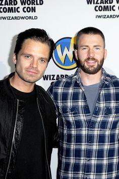 Sebastian Stan and Chris Evans of 'Captain America: Civil War' on day 3 of Wizard World Comic Con Philadelphia 2016 held at Pennsylvania Convention Center on June 4, 2016 in Philadelphia, Pennsylvania.