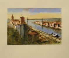 * acuarela * WATERCOLOR * Puente Colgante, Bilbao, Vizcaya * Obra Original