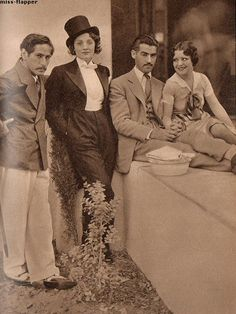 Candid photo of Clara Bow, Marlene Dietrich, Josef von Sternberg, and Frank Tuttle, ca 1930.