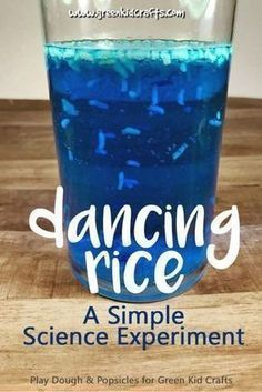 Dancing rice experiment for kids. Make rice dance like magic in this super simple kitchen science experiment from Green Kid Crafts... Science Projects For Kids, Easy Science Experiments, Science Activities For Kids, Easy Kids Science Experiments, Craft Projects, Science Ideas, Science For Preschoolers, Kindergarten Science Projects, Science Education