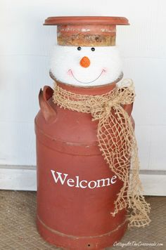 milkcan snowman | Cottage at the Crossroads