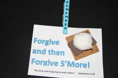 The s'more is made of cork board (hobby lobby sells this in a roll), the chocolate is a piece of foam paper and then a cotton ball tops it off. Sunday School Snacks, Sunday School Projects, Sunday School Activities, Sunday School Lessons, Bible Lessons, Lessons For Kids, Forgiveness Craft, Preschool Bible, Bible Activities