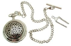 Solid Pewter fronted mechanical skeleton pocket watch - Celtic knot design AEW. $99.00